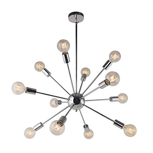 OYI 12-Flammige Sputnik Lampe Modern Kronleuchter Pendelleuchte fit Flache Schräge Decke E27 Lampenfassung Metall für Wohnzimmer Esszimmer Schlafzimmer Küchentisch Shop Restaurant Chrom