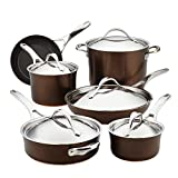 Anolon Nouvelle Copper Hard Anodized Nonstick Cookware Pots and Pans Set, 11 Piece, Sable