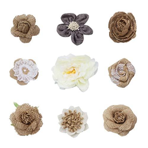Happyyami Juta Naturale Fiori Juta Fiori di Rosa Juta Fiori di Pizzo con Perle di Juta Fiori di...