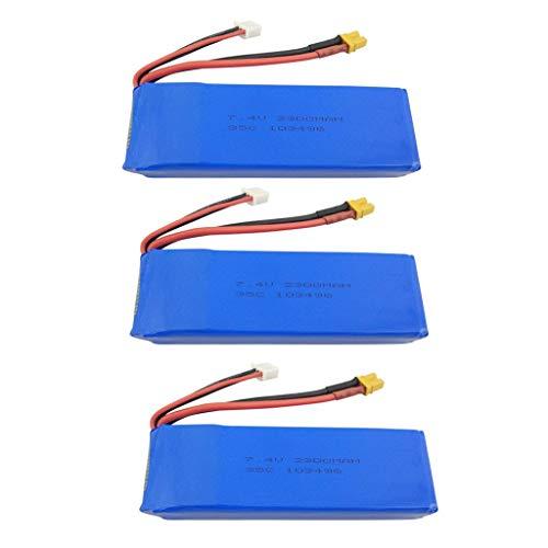 Batteria drone 3 pezzi 7.4V 2300mah Batteria al litio per MJX B6 B6W B6F B6FD B8 BUGS 6 BUGS 8 Quadricottero senza spazzole Accessori di aggiornamento Batteria di aggiornamento del drone remoto