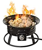 Flame King Outdoor Portable Propane Gas 19' Fire Pit Bowl with Self Igniter, Cover, and Carry Straps for RV, Camping, Backyard