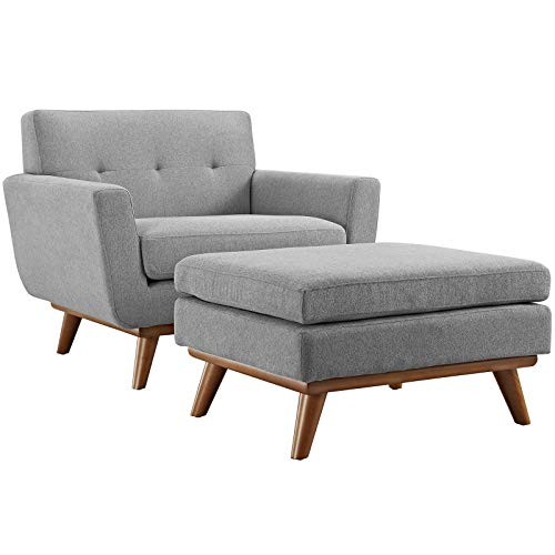 Modway Engage Mid-Century Modern Upholstered Fabric Accent Armchair and Ottoman in Expectation Gray