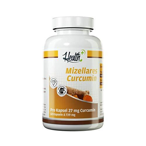 Zec+ Nutrition Health+ Mizellares Curcumin - 60 Kapseln, Wasser- Und Fettllösliche Kurkuma Kapseln, Hochwertige Curcuma-Extrakt Kapseln, Natürlicher Kurkumaextrakt Aus Der Curcuma-Pflanze