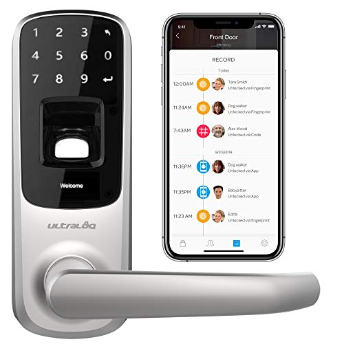 Ultraloq UL3 BT Bluetooth Enabled Fingerprint and Touchscreen Smart Lock (Satin Nickel) | 5-in-1 Keyless Entry | Secure Finger ID | Anti-peep Code | Works with iOS and Android | Match Home Aesthetics