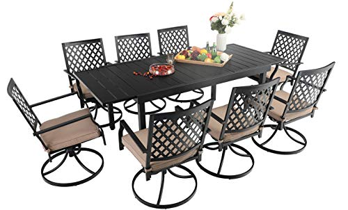 Sophia & William Patio Dining Set 9 Pieces Outdoor Metal Furniture Set, 8 x Swivel Patio Dining Chairs with 1 Expandable 6-8 Person Table for Lawn Garden