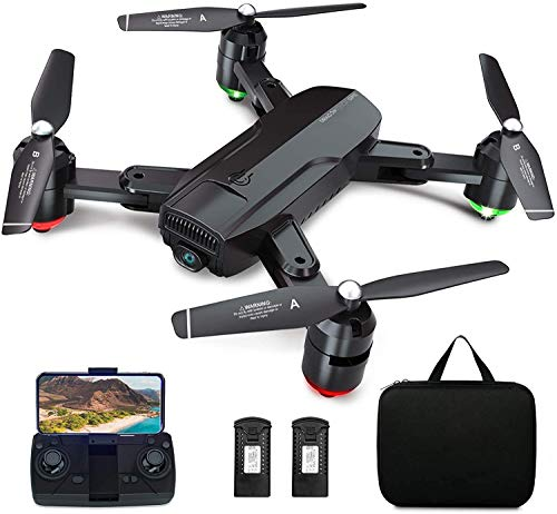 Dragon Touch Drone Pieghevole con GPS Drone con Fotocamera HD 1080P di FPV RC Quadricottero Dotato Musica di sottofondo,Ritorno Automatico, Seguimi,Mantenimento dell'altezza e Percorso di Volo (DF01G)