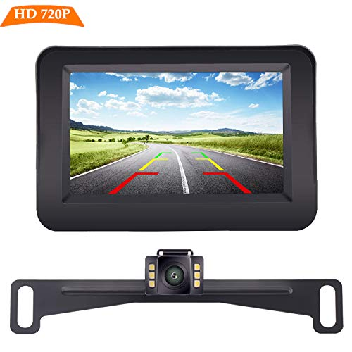 Yakry HD Backup Camera and Monitor Kit Wire Single Power Supply For Whole System Rear View/Constantly View License Plate Reverse Camera For Car/SUV/Vehicle/Pickup Waterproof Night Vision Guide Lines