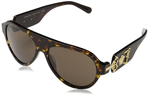 415dBjMMRFL RX-Able Model: VE4323 Style: Fashion Pilot Temple/Frame Color: Havana/Gold Medusa - 108/73 Lens Color: Brown Bridge Design: Standard Geofit: Global Base: Base 6 Decentered