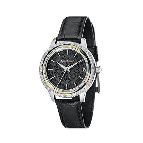 Thomas Earnshaw Damen Skeleton Automatik Smart Watch Armbanduhr mit Leder Armband ES-8064-05
