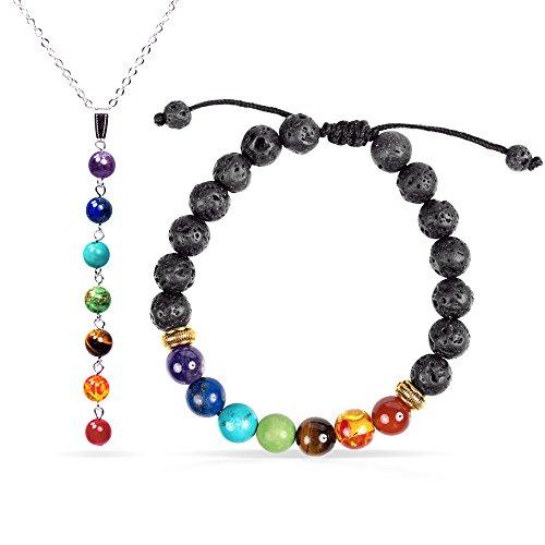 7 Chakra Healing Bracelet with Real Stones, Volcanic Lava,...