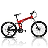 PEXMOR 26' Folding Mountain Bike, 21 Speed Mountain Bicycle Foldable with High Carbon Steel Frame & Double Disc Brake, Front Suspension Anti-Skid Shock-Absorbing Front Fork, Outdoor Adult Bike, Red