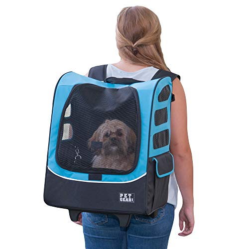 Pet Gear I-GO2 Roller Backpack, Travel Carrier, Car Seat for Cats/Dogs, Mesh Ventilation, Included Tether, Telescoping Handle, Storage Pouch, Extra Large Plus Traveler, Ocean Blue