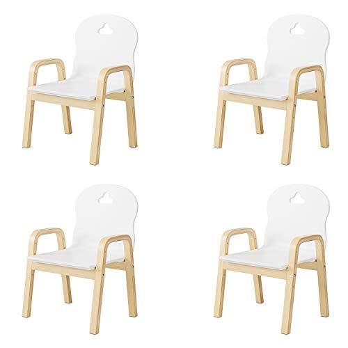 Homfa 4er Set Kinderstühle höhenverstellbar Kinderhocker Stuhl für Kinder mit Rückenlehne und Armlehnen Holz 39 x 32 x 61,5 cm