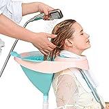 Exttlliy Foldable Hair Shampoo Basin Portable Shampoo Bowl with Removable Drain Tube and Strap for...