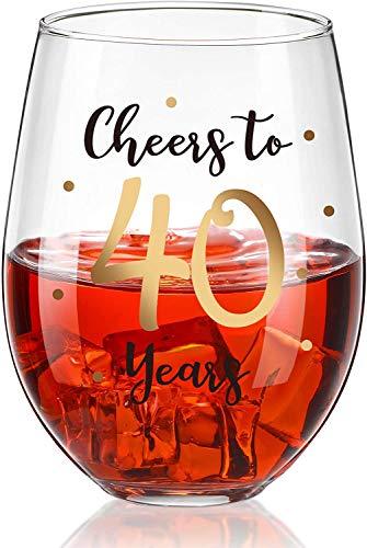 Hombres y Mujeres Copa De Vino De 40 Cumpleaños Regalo De Cumpleaños 40 Copa De Vino De 40 Aniversario Copa De Vino De Aniversario De Boda De 40 Años 480ml
