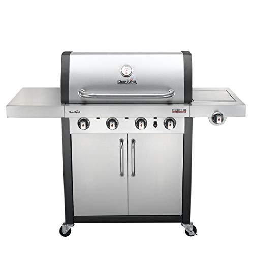 Char-Broil Professional Serie 4400 S - Griglia Barbecue a Gas con 4 Fuochi con Tecnologia TRU-Infrared e Fuoco Laterale, Finitura Acciaio Inossidabile