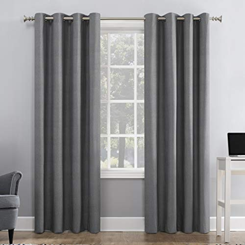 Solar Zero Duran Thermal Insulated 100% Blackout Grommet Curtain Panel, 50″ x 84″, Grey