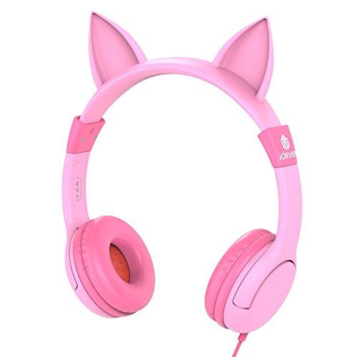 Cuffie per Bambini Sopra' Orecchio, Cuffie con Limitazione di Volume iClever per Bambini, Ispirate al Gatto per Phone, PC, Tablet