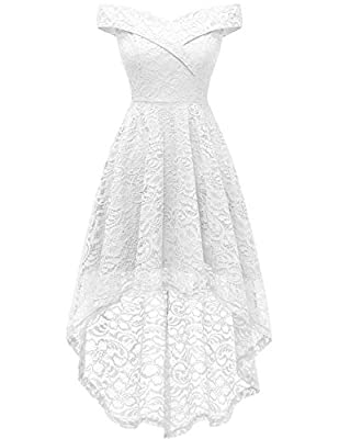 ❀【Wedding Dress】Absolutely perfect for your wedding!This Wedding dress is divided into two styles according to the lenght of the hem. High-Low/Keen Lenght hemline, Off shoulder, Zipper Closure, Hem design and slim waist highlight your body curves. El...