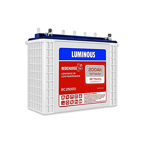 Luminous Red Charge RC 25000 200 Ah, Recyclable Tall Tubular Inverter Battery for Home, Office &...