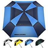 Heasy Windproof Golf Umbrella 54/62 inch Extra Large Double Canopy Vented Square Umbrella Automatic...