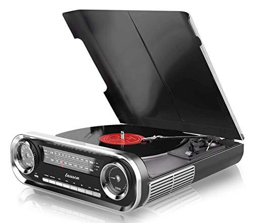 Giradischi Designer Auto d'epoca 2 altoparlanti stereo da 3W integrati lettore lp con radio FM,...
