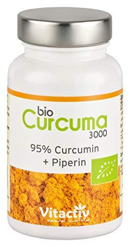 BIO CURCUMA 3000, hochdosierte Bio Kurkuma Kapseln, mit Piperin, sehr gute Bioverfügbarkeit, 95{6b9274418e2c1e5fe285bde71dabdfd525fa6e637d8e8306303809fd3954cffd} Curcumin-Gehalt, entspricht 3000 mg Kurkuma-Pulver (60 Kapseln)
