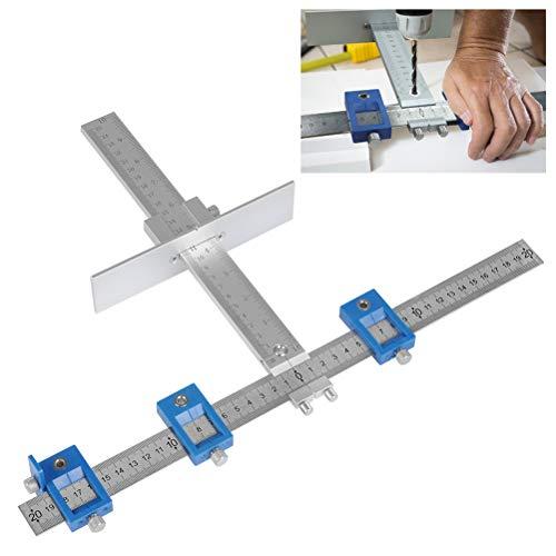 QLOUNI Locher Locator Bohrführung Bohrhilfe Bohrführungshülse Aluminiumlegierung Schrank Hardware Jig Schablone für die Montage von Griffen