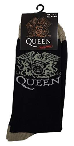 Queen 'Crest' (Nero) Calzini (Taglia unica = EUR 41-45)