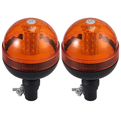 Justech 2 X Luce Lampeggiante Stroboscopica 40LED 12V/24V Impermeabile con 3 Modalit Illuminazione Avviso di Lampeggiamento Palo DIN Arancione per Rimorchio Trattore Camion