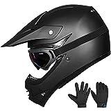 ILM Youth Kids ATV Motocross Dirt Bike Motorcycle BMX Downhill Off-Road MTB Mountain Bike Helmet DOT Approved (Youth-XL, Matte Black)