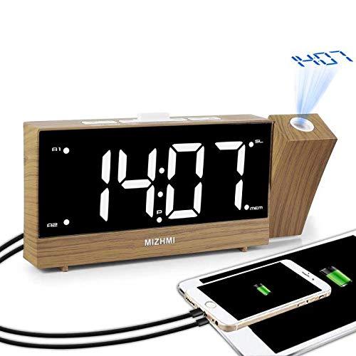 MIZHMI Alarm Clocks, Projection Alarm Clocks Radio Digital LED Display Dual USB Charging Ports Adjustable Brightness Angle Alarm Clock Loud Bedside Non Ticking Projector Ceiling