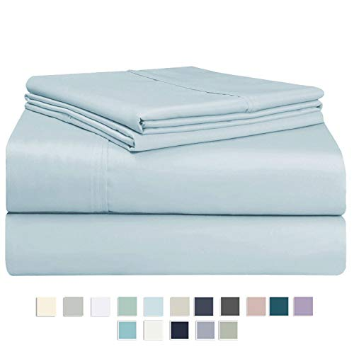 Pizuna 400 Thread Count Cotton Light Blue Queen Sheets Set, 100% Long Staple Cotton Sheets, Soft Cotton Satin Bed Sheets fit Upto 15 inch Deep Pocket (Baby Blue Queen 100% Cotton Sheets)