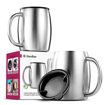 Insulated Stainless Steel Coffee Cups (Set Of 2) BPA-Free Spill Proof Lid- Double Wall Camping Travel Mugs With Handle- Tough & Shatterproof Coffee & Tea Mug, Takeaway Coffee Cup for Hot Drinks- 400ml
