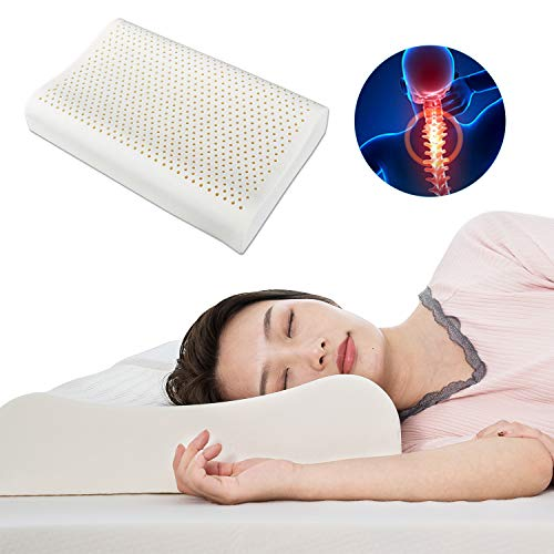 100% Natural Latex Pillow for Side Sleepers Soft High Resilience Sleeping Quality Pillow Cervical Spine Care Reduce Snoring Relieve Neck & Shoulder Pain High and Low Pillow Durable Ventilation