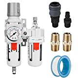 NANPU 3/8' NPT Compressed Air Filter Regulator Lubricator Combo Water/Oil Trap Separator - Gauge(0-150 psi), Poly Bowl, Semi-Auto Drain, Bracket - 3 in 1 Two Unit