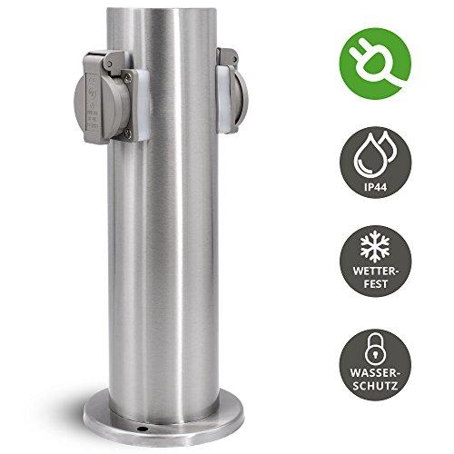 Garten Energiesäule für außen mit 2 Steckdosen für 230V - Steckdosensäule rund in Edelstahl gebürstet mit Regenschutz IP44