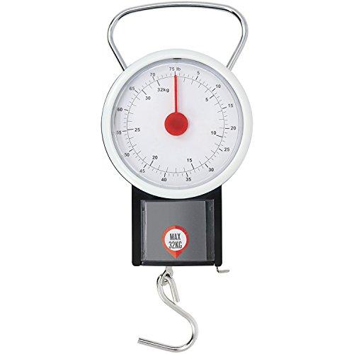 com-four® Pèse-Bagages jusqu'à 32 kg avec Affichage analogique, pèse-Bagages avec mètre Ruban, 19,5 x 7,5 cm (01 pièce - 32 kg V3)