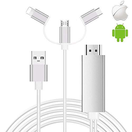Cavo da smartphone a HDMI, SwiftLand 3 in 1 USB tipo C da flash a HDMI HDTV Adattatore cavo 1080p...