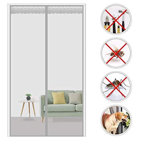THAIKER Magnetic Fly Screen Door, 85x240cm(33x94inch) Heavy Duty Mesh Curtain Magnetic Mesh Screen Door for Balcony/Patio DoorSize Up to, Gray