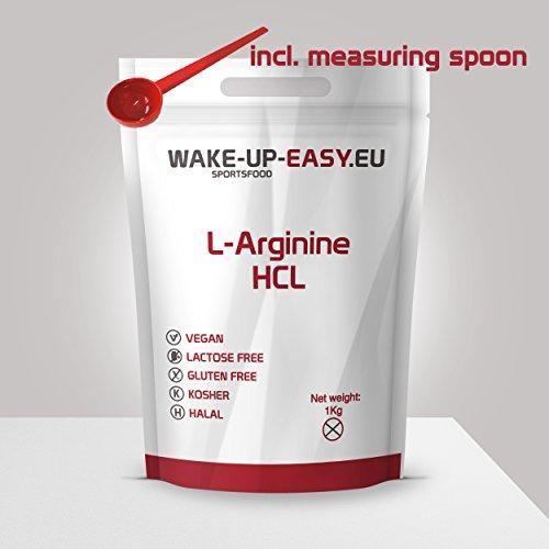 1kg L-arginina en polvo pura 1000g (bien soluble), incl. cuchara dosificadora, wake-up-easy