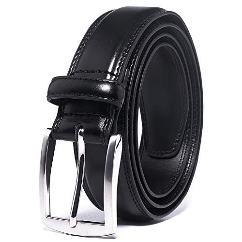 Men's Leather Dress Belt Silver Single Prong Buckle Belts for Men Jeans Khakis Dress Outfits