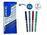 Pilot - Lot de 4 Stylos Encre Liquide V5 - Stylo Roller - Noir, Bleu, Rouge, Vert - Pointe Fine