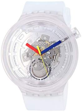 Swatch Big Bold Quartz Silicone Strap, Transparent, 25 Casual Watch (Model: SO27E100)