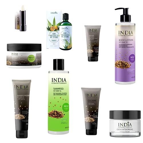 INDIA COSMETICS ALEMANIA Set de cosméticos de cáñamo, aceite de cáñamo sativa, de primera calidad orgánica, libre de crueldad animal, para antienvejecimiento y neurodermatitis