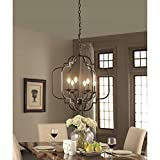 Saint Mossi Black Farmhouse Chandelier with 6 Lights,Lantern Metal Pendant Lighting for Dining Room,Living Room,Kitchen,Foyer,W23'x H26' with Adjustable Chain