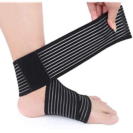 Fascia supporto per piede e caviglia, cavigliera elastica regolabile con strappo, per distorsioni, slogature e infortuni.