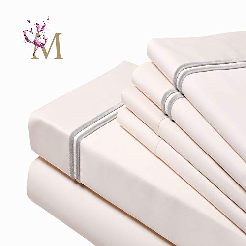 Proudly Made in USA,(6 Pieces Bed Sheet Set), 1000-Thread Count,100% Egyptian Cotton-Giza86- Sateen Weave, Fits Mattress up to 18 inch, (Cal-King-Ivory), Designed with 2 Lines of Royal Grey Velvet