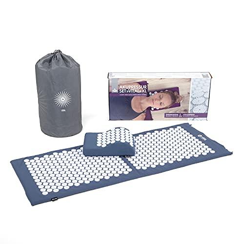 BODHI Akupressur-Set Vital XL : Akupressurmatte (130 x 50 cm) | inkl. Tasche & Akupressurkissen | Entspannungsmatte, vitalisierend für den Rücken | Perfekte Regeneration der Muskeln (blau)
