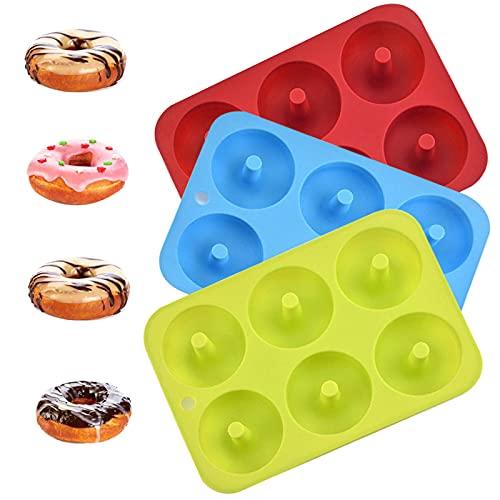 Moldes de Silicona para Dónut, Juego de 3 Molde de Silicona Donut, 6 Cavidades Rosquillas Antiadherentes Bandeja, para Hacer Galletas, Magdalenas, Pasteles, Bagels